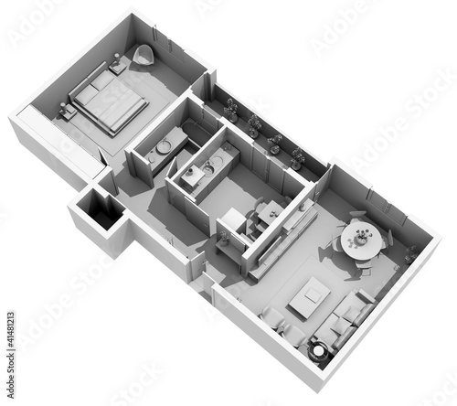 Interior design - 3d clay home project - cozy apartment