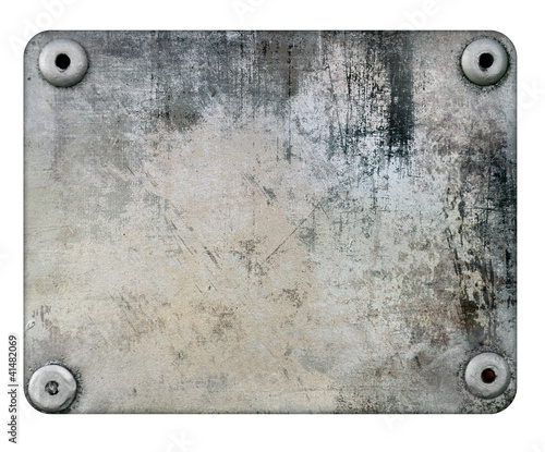 Scratched metal plate isolated on white background