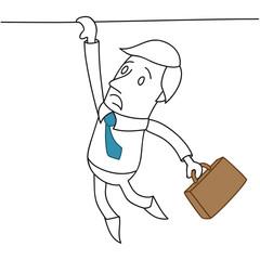 Geschäftsmann, Absturz, am Abgrund hängend