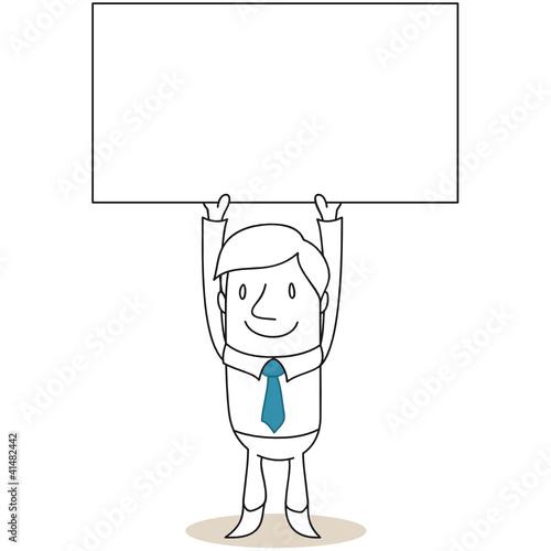 Geschäftsmann, Schild, Plakat