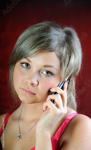 Girl, talking on phone.