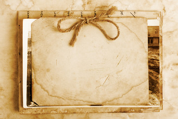 Vintage background with old paper, letters and photos