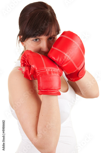 girl wearing boxing gloves