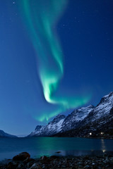 Aurora Borealis in Norway, reflected