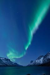 Aurora Borealis between fjords