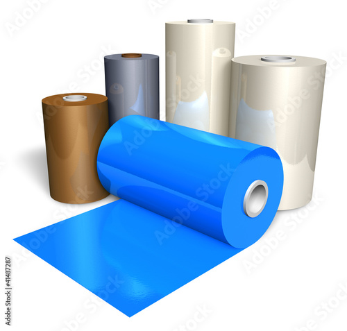 Rolls of color plastic tape