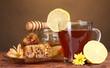 honey, lemon, honeycomb and a cup of tea