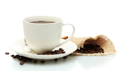 cup of coffee and beans isolated on white