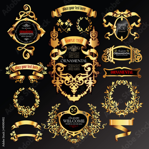 vector set of labels with gold elements.