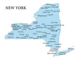 Map of New York on a white background