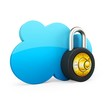 3d Cloud computing security concept with padlock