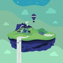 Fantasie fliegenden Insel. Vektor-Illustration.
