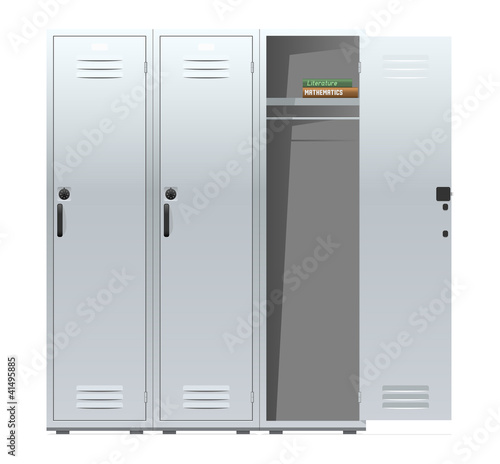 School lockers with combination locks. Vector illustration.