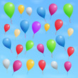 Colored ballons in blue sky