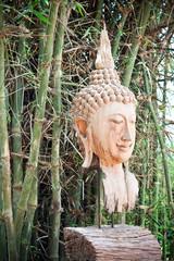 wood buddha face