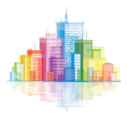 Colorful panorama  of city