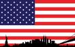 New York skyline vector on USA flag
