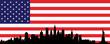 New York skyline and flag