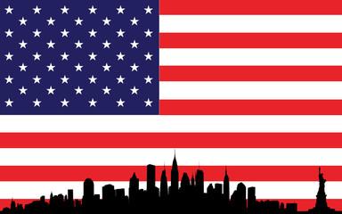New York skyline and flag USA