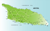 Caribbean island of Aruba map