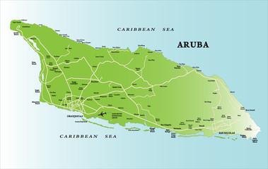 Caribbean island of Aruba map