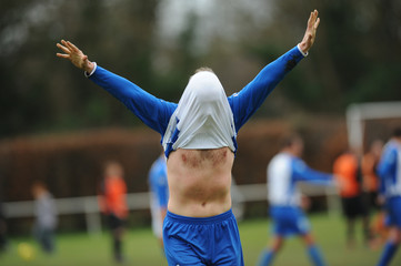 Amateur football players celebration