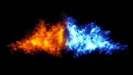 Two flames (red and blue) against each other.