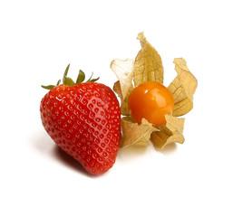 Erdbeere mit Physalis