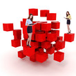 young business woman and a 3d cube maze