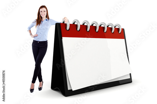 Attractive young business woman and a 3d blank calendar