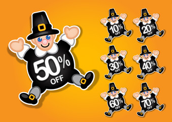 Thanksgiving Pilgrim discount stickers / labels