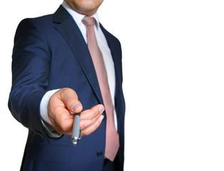 Business - Man reaching ballpoint pen