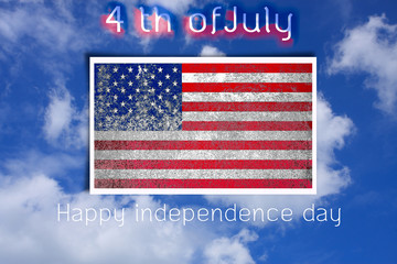 grunge United States flag of independence day in nature