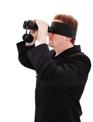 Blindfold bussiness man looking for job