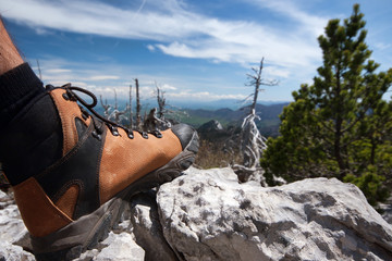 hiking boot on stone