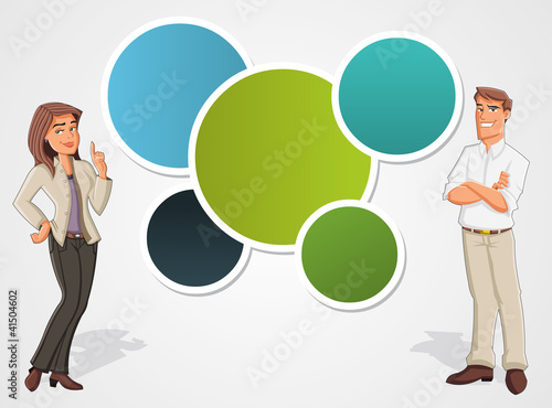 Colorful template with cartoon business man and woman