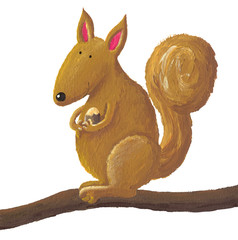 Cute squirrel holding a nut