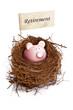 Piggy bank in bird's nest