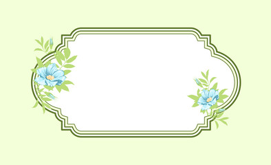 Classic hand drawn oval green frame with light blue roses