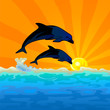 dolphin jump with sunset background
