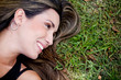 Woman lying outdoors