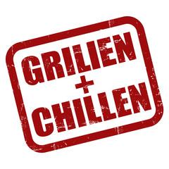 Grunge Stempel rot GRILLEN + CHILLEN