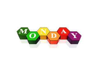 monday in 3d coloured hexagons
