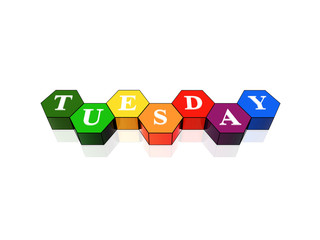 tuesday in 3d coloured hexagons