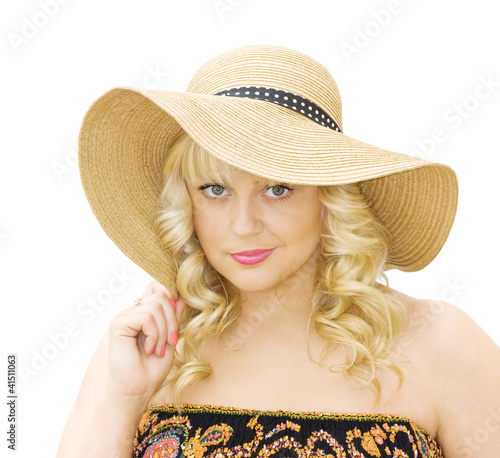 Summer fashion - woman with straw hat