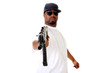Gangster with an AK47 assault gun.