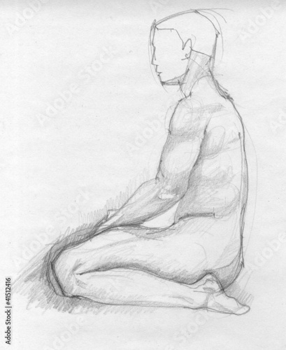 Human figure of a naked man from profile, charcoal sketch