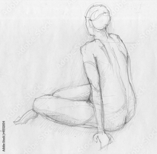 Sitting figure of a naked woman from back view, crayon sketch