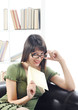 bright picture of young woman woman with book