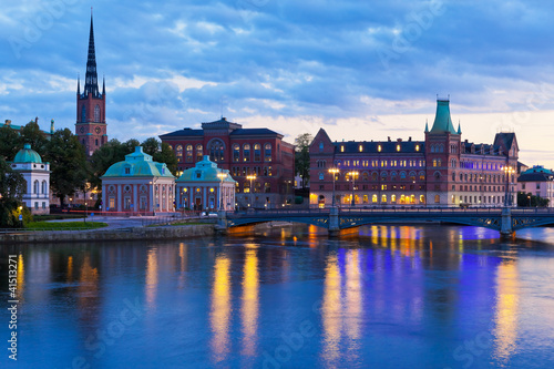 Foto op Aluminium Oude gebouw Scenic evening panorama of Stockholm, Sweden